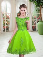 Pretty Tulle Sleeveless Knee Length Prom Gown and Beading and Appliques