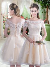 Hot Sale Champagne A-line Tulle Off The Shoulder Short Sleeves Lace Knee Length Lace Up Prom Dresses