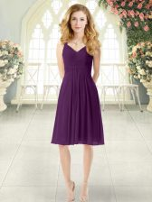 Hot Selling Purple Straps Zipper Ruching Prom Evening Gown Sleeveless