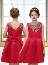 Sleeveless Satin Mini Length Zipper Flower Girl Dresses for Less in Red with Appliques