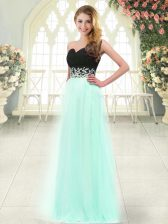 Sweetheart Sleeveless Prom Gown Floor Length Appliques Apple Green Tulle