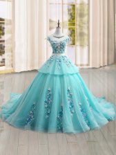 Free and Easy Cap Sleeves Brush Train Appliques Lace Up Quinceanera Dresses