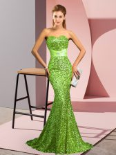 Luxury Sweep Train Mermaid Homecoming Dress Sweetheart Sequined Sleeveless Zipper