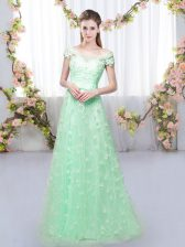 Apple Green Cap Sleeves Appliques Floor Length Dama Dress for Quinceanera
