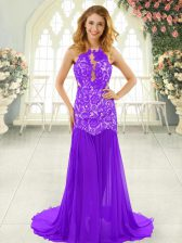 Backless Prom Gown Lavender for Prom and Party with Lace Brush Train