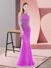 Noble Lilac Sleeveless Beading Backless