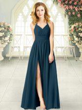 Nice Teal Halter Top Neckline Ruching Prom Gown Sleeveless Zipper