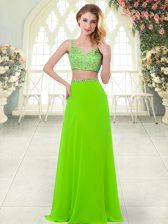 Attractive Chiffon Sleeveless Floor Length Dress for Prom and Beading