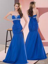 Satin Sleeveless Floor Length Prom Dress and Beading and Ruching