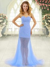 Zipper Prom Gown Baby Blue for Prom and Party with Beading Brush Train