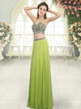 Glittering Sleeveless Floor Length Beading Backless with Olive Green