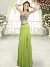 Glittering Sleeveless Floor Length Beading Backless with Olive Green