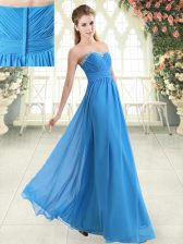 Sexy Blue Sweetheart Neckline Beading Prom Dress Sleeveless Zipper