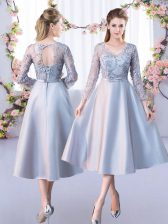 Silver 3 4 Length Sleeve Satin Lace Up Dama Dress for Quinceanera for Prom and Party and Wedding Party