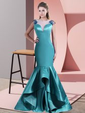 Sleeveless Sweep Train Zipper Beading and Lace Dress for Prom