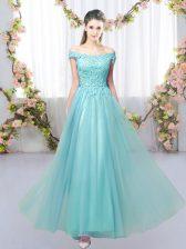 Floor Length Aqua Blue Court Dresses for Sweet 16 Tulle Sleeveless Lace