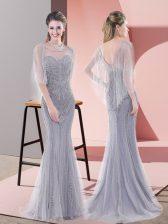 Luxury Scoop Half Sleeves Evening Dress Sweep Train Beading Grey Tulle