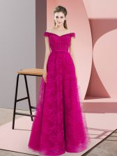 Classical Fuchsia Sleeveless Floor Length Beading and Lace Lace Up Prom Gown