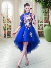 High Low A-line Half Sleeves Royal Blue Prom Evening Gown Zipper