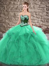 Turquoise Sleeveless Beading and Embroidery Floor Length Sweet 16 Quinceanera Dress