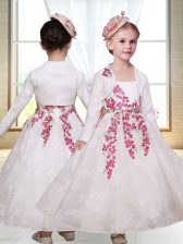 Cute White Lace Zipper Flower Girl Dresses Sleeveless Ankle Length Embroidery
