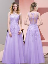 Lavender Scoop Neckline Lace Evening Dress Sleeveless Zipper