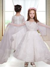 Delicate White A-line Scoop Long Sleeves Ankle Length Zipper Lace Toddler Flower Girl Dress