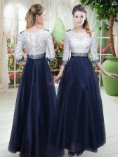 Romantic 3 4 Length Sleeve Zipper Floor Length Beading and Lace Prom Gown