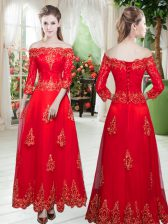 Affordable 3 4 Length Sleeve Floor Length Lace and Appliques Prom Dress