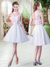 Hot Selling Knee Length Zipper Prom Gown White for Prom and Party with Appliques