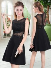 Cheap Black Prom Party Dress Prom and Party with Lace Scalloped Sleeveless Zipper