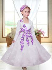 Classical White A-line Embroidery Toddler Flower Girl Dress Zipper Lace Sleeveless Ankle Length