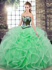 Apple Green Sweetheart Lace Up Embroidery and Ruffles Quinceanera Dresses Sweep Train Sleeveless
