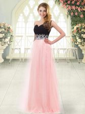 Great Baby Pink Tulle Zipper Sweetheart Sleeveless Floor Length Prom Dress Appliques