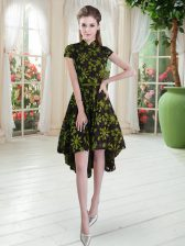 Exquisite Lace Short Sleeves High Low Prom Evening Gown and Appliques