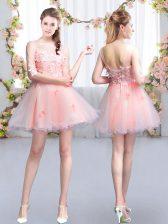 Pink Scoop Neckline Appliques Vestidos de Damas Half Sleeves Lace Up