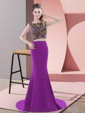 Purple Scoop Neckline Beading Prom Dress Sleeveless Backless