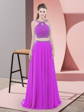 Cheap Backless Prom Party Dress Purple for Prom and Party with Beading Sweep Train