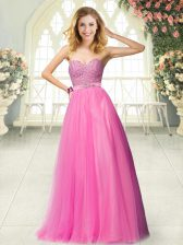 Hot Pink A-line Sweetheart Sleeveless Tulle Floor Length Zipper Beading Homecoming Dress
