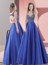 Traditional Blue Straps Neckline Beading Homecoming Dress Sleeveless Backless