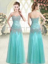 Glittering Sleeveless Tulle Floor Length Zipper Evening Dress in Apple Green with Beading