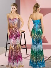 Delicate Purple and Multi-color Lace Up Evening Dress Sleeveless Floor Length Beading and Sequins