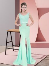Customized Beading and Lace and Appliques Prom Gown Apple Green Zipper Sleeveless Sweep Train