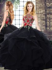 Captivating Sleeveless Embroidery and Ruffles Zipper Quinceanera Gowns