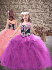 Exquisite Purple Lace Up Pageant Dress for Womens Embroidery and Ruffles Sleeveless Floor Length