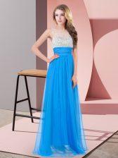 Baby Blue Sleeveless Beading Floor Length Prom Dress