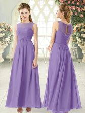Romantic Sleeveless Ankle Length Ruching Zipper with Lavender