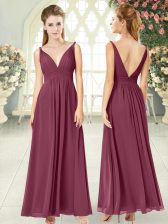 Traditional Ankle Length Side Zipper Dress for Prom Burgundy for Prom and Party with Ruching