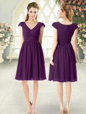 Customized Purple Prom Party Dress Prom and Party with Ruching V-neck Cap Sleeves Zipper