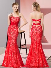 Sleeveless Floor Length Beading Backless Homecoming Dress with Red